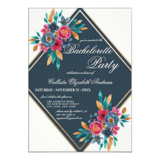Country Fall Gold Watercolor Flowers Bachelorette Invitations