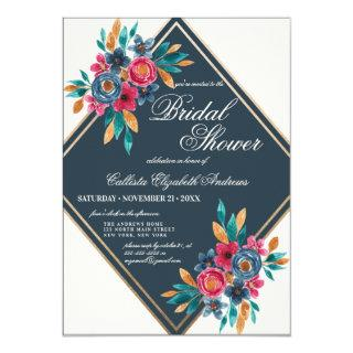Country Fall Gold Watercolor Flowers Bridal Shower Invitations