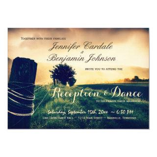 Country Fence Post Reception Only Invitations