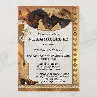 Country Horses Rustic Rehearsal Dinner Invitations