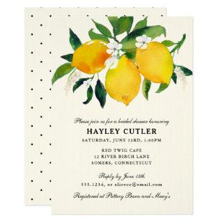 Country Lemon & Flowers  Shower invitation
