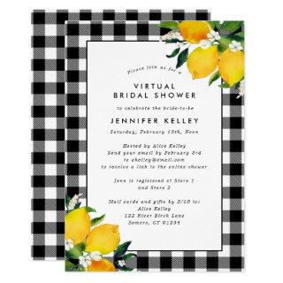 Country Lemons and Gingham Bridal Shower Invitation