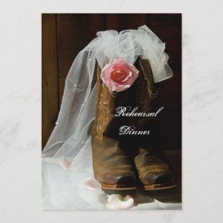 Country Rose Cowboy Boots Wedding Rehearsal Dinner Invitation