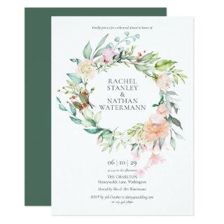 Country Rose Floral Rehearsal Dinner Invitations