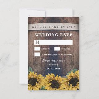 Country Rustic Barrel Sunflower Wedding RSVP Cards