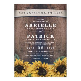 Country Rustic Barrel Vintage Sunflower Wedding Invitations