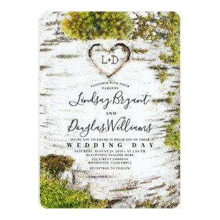 Country Rustic Birch Tree Bark Fall Wedding Invitation