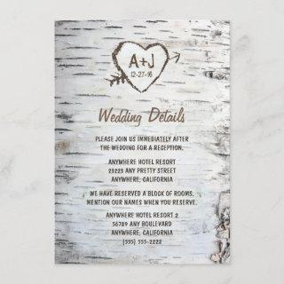 Country Rustic Birch Tree Bark Wedding Enclosure Card