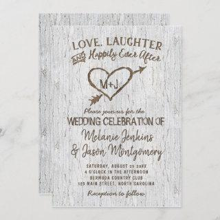 Country Rustic Birch Tree Heart Wedding Invitations