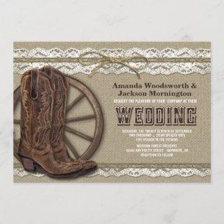 Country Rustic Burlap and Lace Wedding Invitations