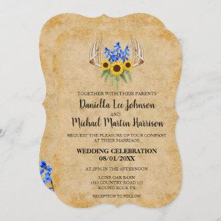 Country Rustic Floral Antlers Wedding Invitation