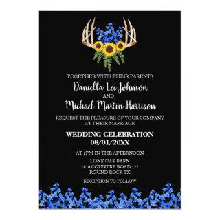 Country Rustic Floral Antlers Wedding Invitations