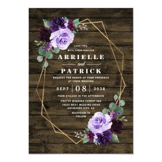 Country Rustic Floral Purple and Gold Wedding Invitations