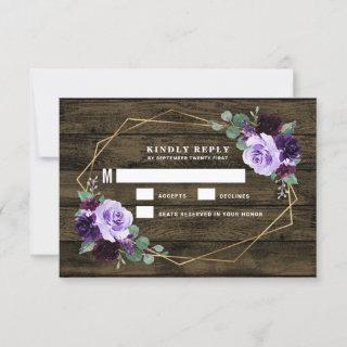 Country Rustic Floral Purple and Gold Wedding RSVP Card