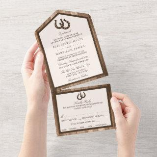Country Rustic Horseshoe & Brown Wood Wedding All In One