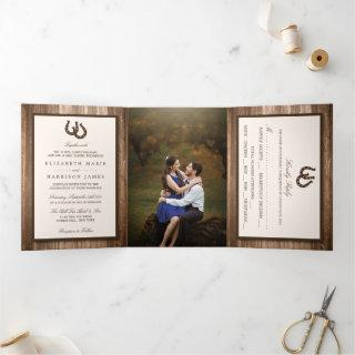 Country Rustic Horseshoe & Brown Wood Wedding Tri-Fold Invitations