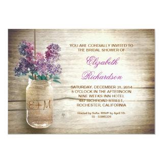 country rustic mason jar bridal shower invitations