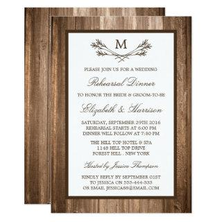 Country Rustic Monogram Branch Rehearsal Dinner Invitations