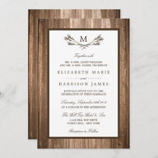 Country Rustic Monogram Branch & Wood Wedding Invitations
