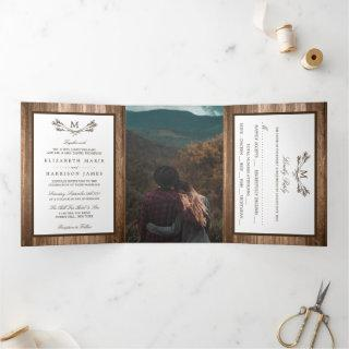 Country Rustic Monogram Branch & Wood Wedding Tri-Fold Invitations