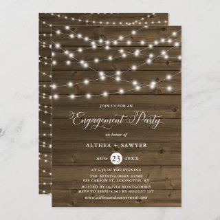 Country Rustic String Lights Engagement Party Invitations