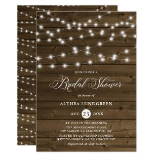 Country Rustic String Lights Wood Bridal Shower Invitations