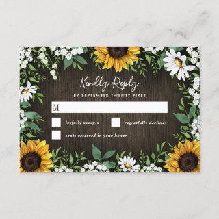 Country Rustic Sunflower Daisy Wedding RSVP Cards