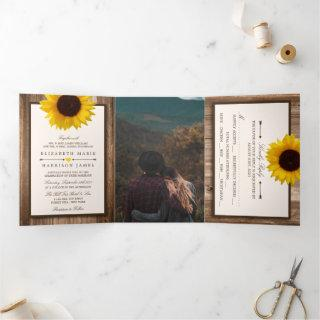 Country Rustic Sunflower & Wood Wedding Suite Tri-Fold Invitation