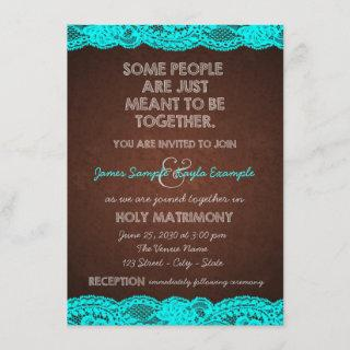 Country Rustic Teal Blue and Brown Wedding Invitation