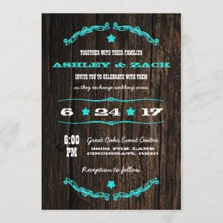 Country Rustic Western Star Wedding Invitations