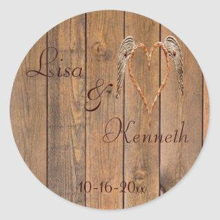 Country Style Rustic Angel Wings Wedding Classic Round Sticker