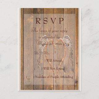Country Style Rustic Angel Wings Wedding Invitation Postcard