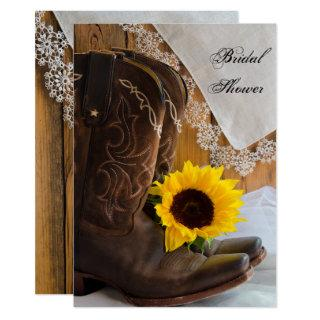 Country Sunflower and Lace Western Bridal Shower Invitations