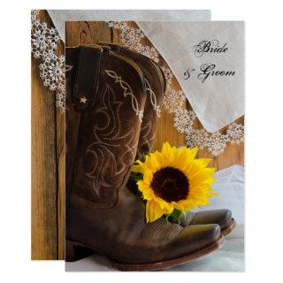 Country Sunflower and Lace Western Wedding Invitations