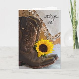 Country Sunflower Lace Will You Be My Bridesmaid Invitation