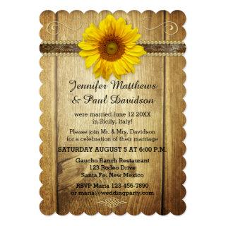 Country Sunflower Post Wedding Party Invitations