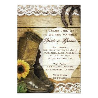 Country Sunflower Wedding Boots and Horseshoes Invitation