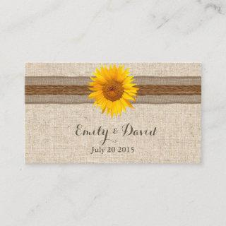 Country Sunflower Wedding Website Insert Card