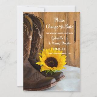 Country Sunflower Western Wedding Change the Date Save The Date