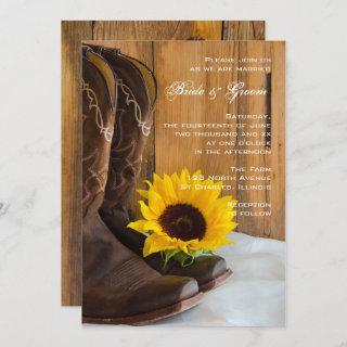 Country Sunflower Western Wedding Invitations