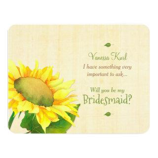 Country Sunflower Will You Be My Bridesmaid Invitation