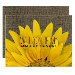 Country Sunflower Will You Be My Maid of Honor Invitation