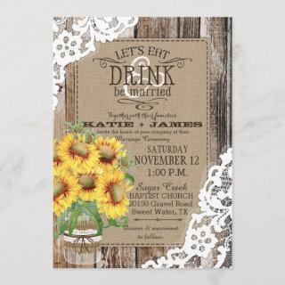 Country Sunflower Wood Lace Rustic Wedding Invitations