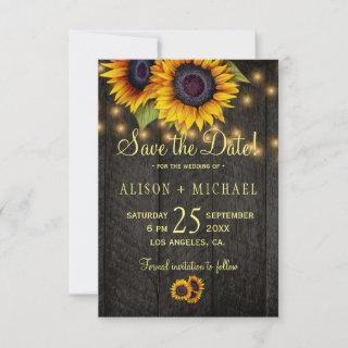 Country sunflowers barn wood save the date wedding