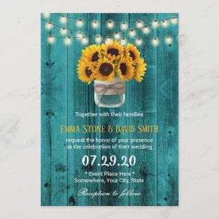 Country Sunflowers Jar Rustic Teal Barn Wedding Invitations