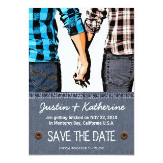 Country Wedding Save The Date Couple Holding Hands Invitations