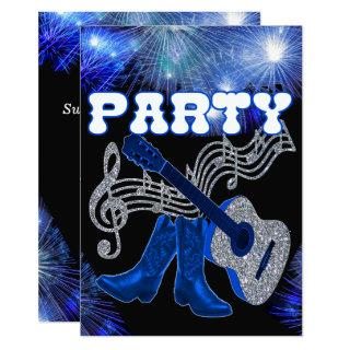 Country Western Music Blue Guitar And Cowboy Boots Invitation