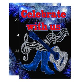 Country Western Music Blue Guitar And Cowboy Boots Invitations