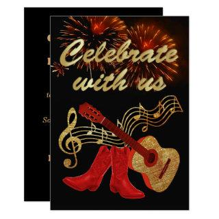 Country Western Music  Guitar And Red Cowboy Boots Invitations