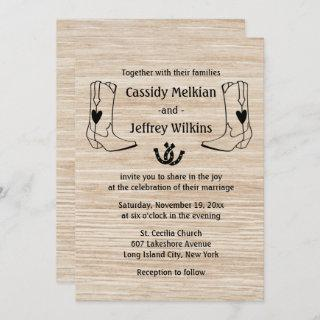 Country Western Wedding Cowboy Boots Rustic Wood Invitations